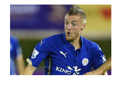 Leicester City number 9, James Vardy, is photographed in action.