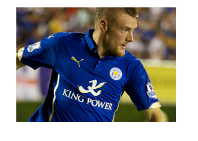 Leicester City forward, Jamie Vardy, in action.  Wearing home blue. 2016/17.