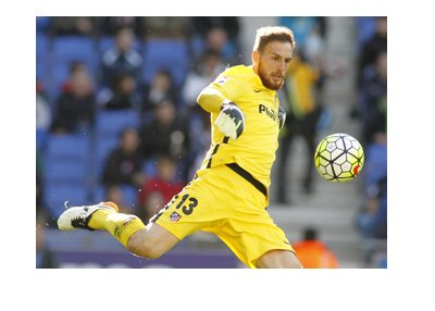 Jan Oblak, Atletico Madrid number one, is kicking the ball from the yard box.