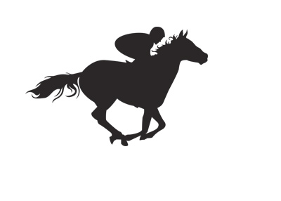 Jockey on a horse in the middle of a race.  Silhouette.  Drawing.  Illustration.