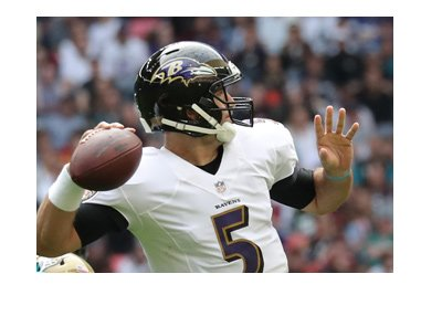 Baltimore Ravens quarterback - Joe Flacco - Number 5 - In action.