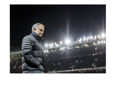 Manchester United manager, Jose Mourinho, under the Old Trafford lights.  Year is 2017.