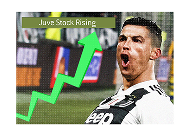 Juventus stock soars following Ronaldo hat-trick in the Champions League vs. Atletico Madrid.  The year is 2019.