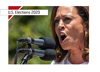 Presidential hopeful - Democrat - Kamala Harris - Photographed during a speach.  Year is 2018.