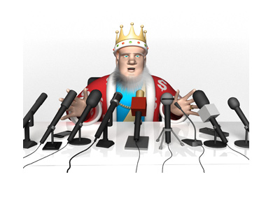 The King is presenting the latest news at the morning press conference.  Mics all around him.