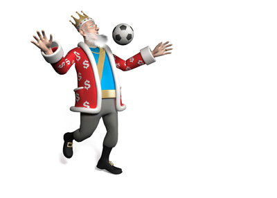 The King is chesting the ball while talking about the upcoming weekend in the English Premier League.