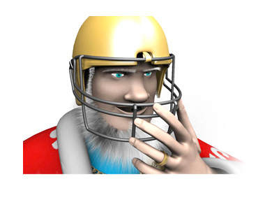 The King has put his golden football helmet on.  Game on!