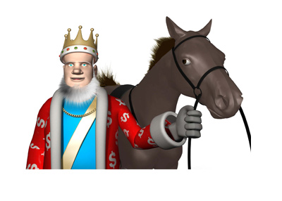 The King is standing next to a horse, giving a report on the latest racing news.