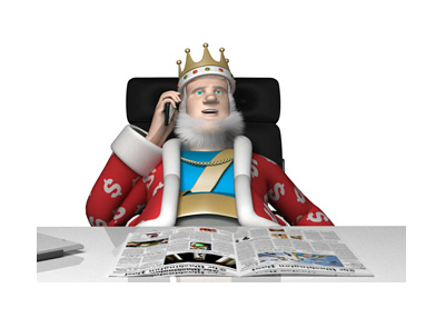 The King is sitting at his office desk and talking on his cellphone.  Receiving the latest news from the Australian Open 2017.