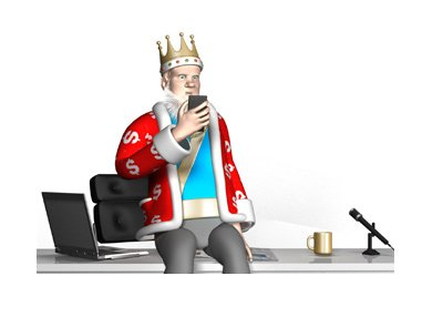 The King is sitting on top of his office desk, checking his cellphone for news.  Confused look on his face.
