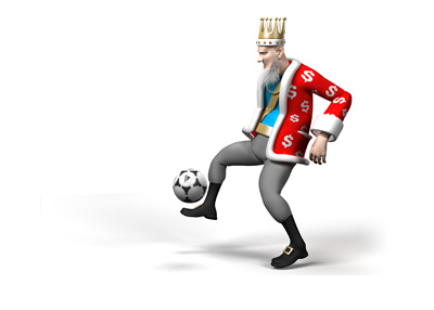 The King is juggling the soccer ball.  Full attention and focus.