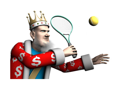 The King is playing tennis.  He is about to hit the ball while in full concentration.