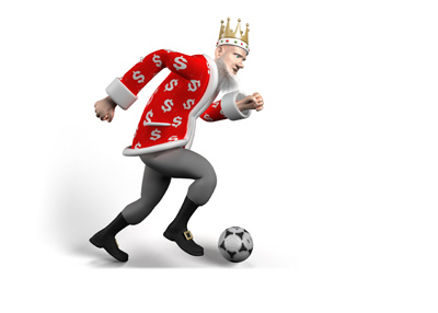 The King is pushing forward with the ball at his feet.  The Champions League round of 16 2nd legs are on this week.