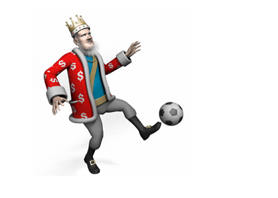 The King is receiving a soccer ball in skillful manner.