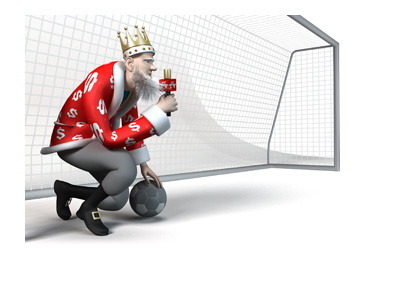 The King is doing a Europa League report while sitting in front of a goal with a ball.
