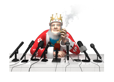 The King is smoking a pipe and reporting on the Superbowl 2018 odds.  Who is the favourite?  New England of course.
