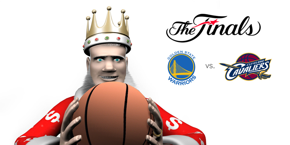 The King is holding a basketball and going over the odds for the upcoming 2016 NBA Finals between Golden State Warriors and Cleveland Cavaliers
