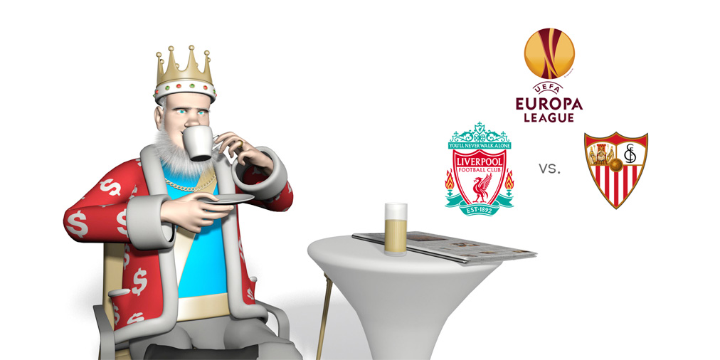 While relaxing in the cafe and enjoying the sunshine, the King is reviewing the upcoming 2015/16 Europa League final match between Liverpool and Sevilla