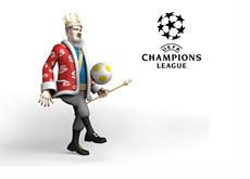 King bouncing a soccer ball and talkin about the tonights football matchups and picks while standing next to the Champions League logo