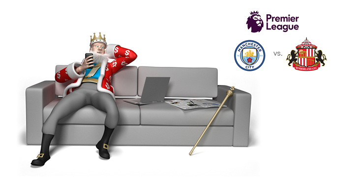 The King is chilling on the couch while reviewing the upcoming match between Manchester City and Sunderland in the 2016/17 season of the English Premier League