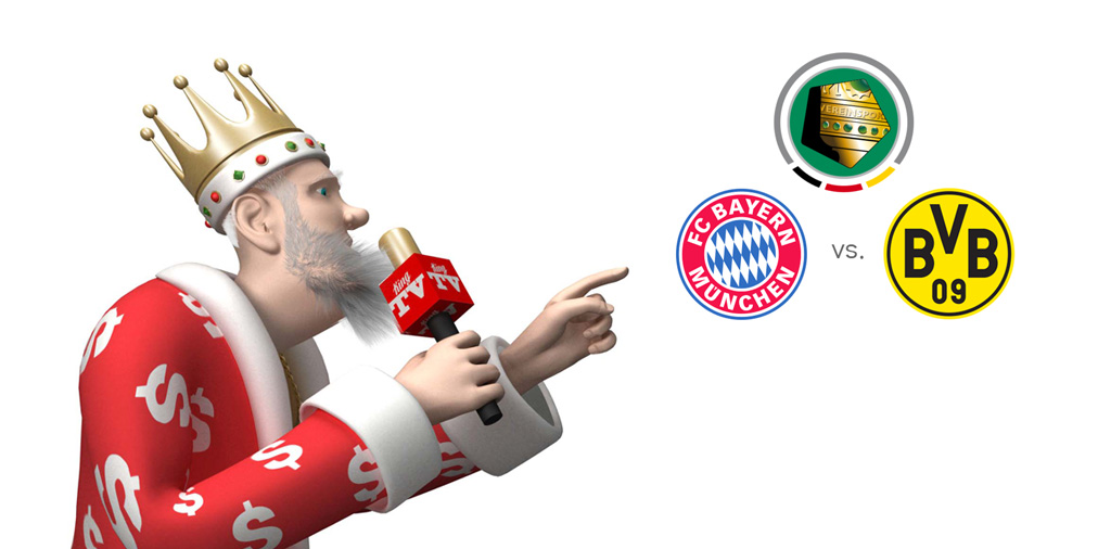 The DFB Pokal final match between Bayern Munich and Borussia Dortmund is presented by the Sports King.  On the mic.