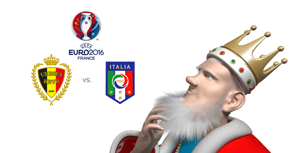 The King is looking in amusement at the upcoming matchup between Belgium and Italy at the EURO 2016 i France.  Who is the favourite to win?
