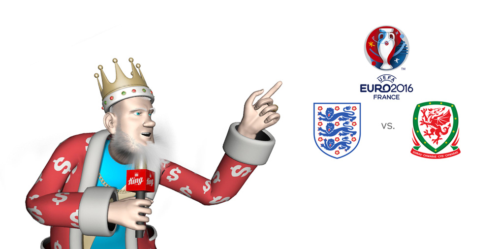 The Sports King presents the matchup of the day at Euro 2016 France - England vs. Wales - Tournament logo, team crests and winning odds