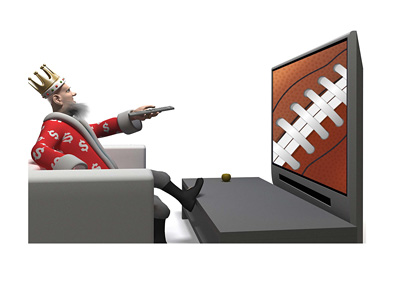 The Sports King is sitting down and watching NFL football on TV