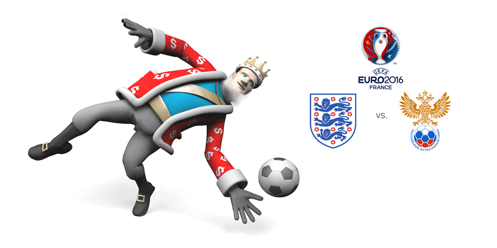The King is a goalie today.  Presenting England vs. Russia the UEFA Euro 2016 match.
