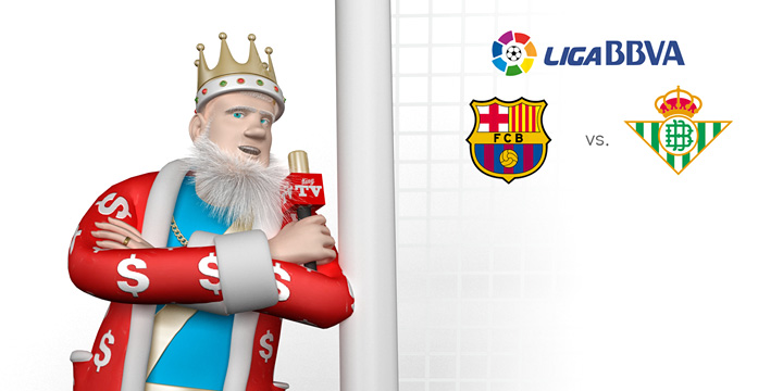 The King is standing next to a goal post and talking about the upcoming match between Barcelona and Real Betis in the opening round of the 2016/17 La Liga season