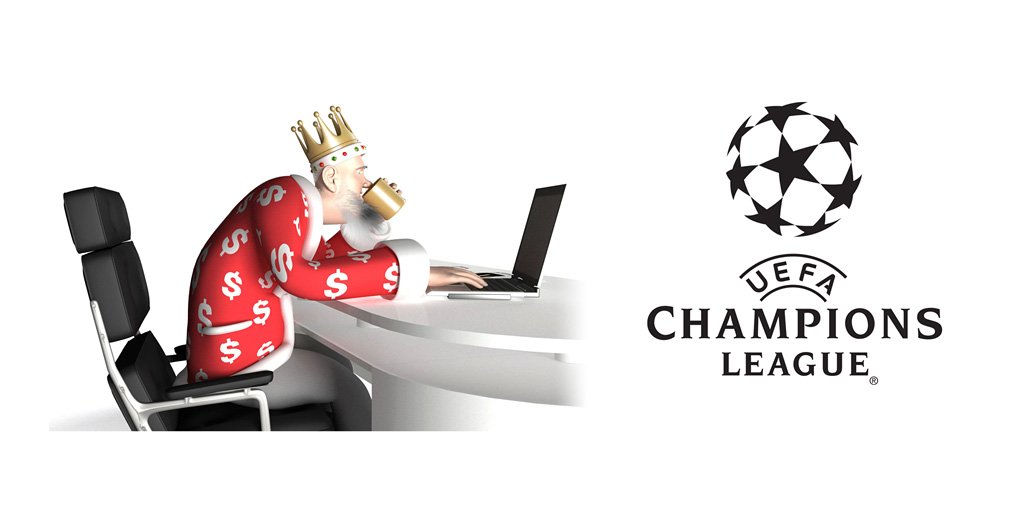 The King is going over the latest odds for the 2015/16 UEFA Champions League.  Sitting in his office, drinking from the golden mug and surfing the net on the laptop