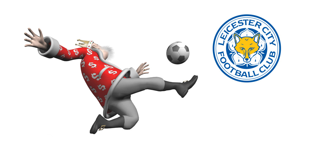 The King is in the middle of a volley next to the Leicester City FC logo