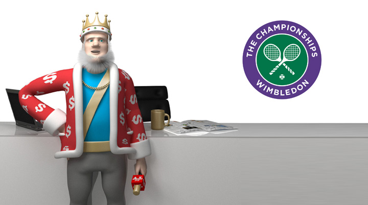 The Sports King is discussing the upcoming Wimbledon 2016 final between Milos Raonic and Roger Federer.  Office studio shot.