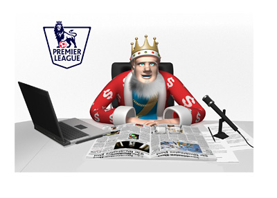 King is reading the daily news.  The English Premier League is heating up