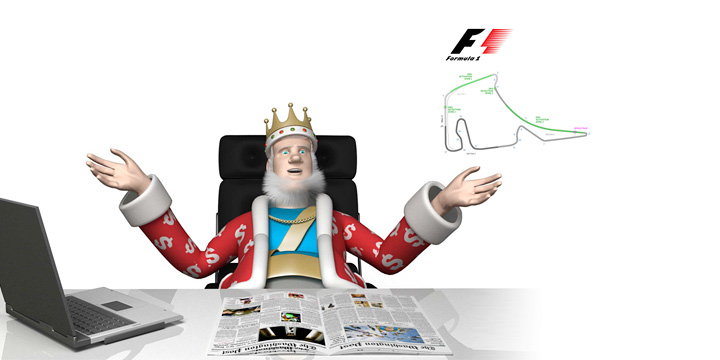The King presents the upcoming F1 Grand Prix in Germany.  Hands turned up.  Discussion in full swing.