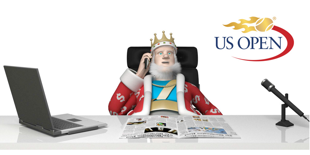 The King is sitting at his office desk discussing the upcoming US Open 2016 tennis tournament