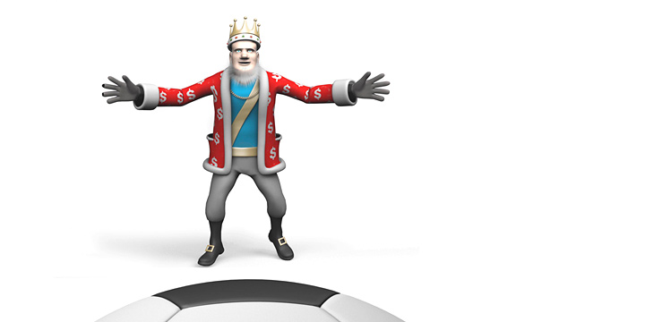 The King is playing goalie and has a fast approaching ball to deal with.  3D model.