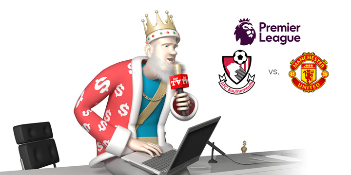 From his media studio, the King presents the upcoming match between Bournemouth and Manchester United coming up in the 2016/17 season of the English Premier League