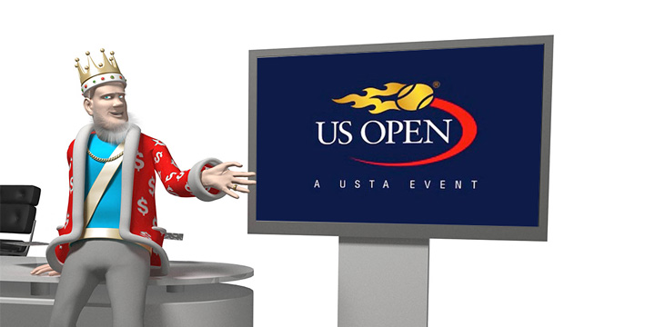 The King is presenting theupcoming US Open 2016 tennis tournament.  The action takes place in the media studio.