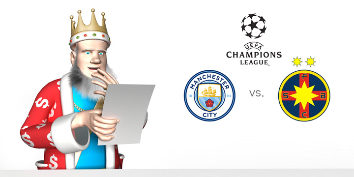 The King, with his hand over his mouth, is going over the upcoming match between Manchester City and Steaua Bucharest coming up in the Champions League.