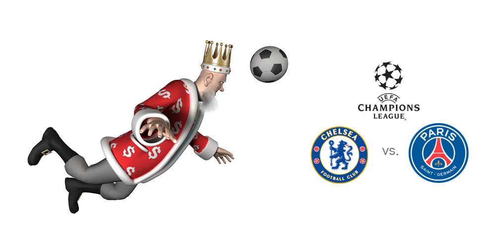 The King, in his unique way, presentes the upcoming matchup between Chelsea and Paris Saint-Germain.  Ball in the air, going for the header