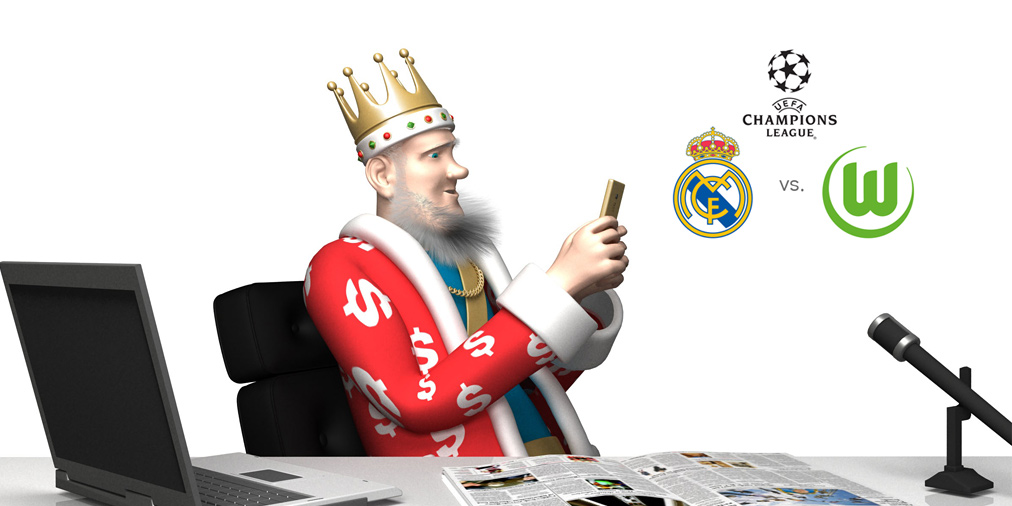 The King previews the upcoming match between Real Madrid and Wolfsburg in the UEFA Champions League.  It is the quarter-finals second leg match, taking place at the Santiago Bernabeu