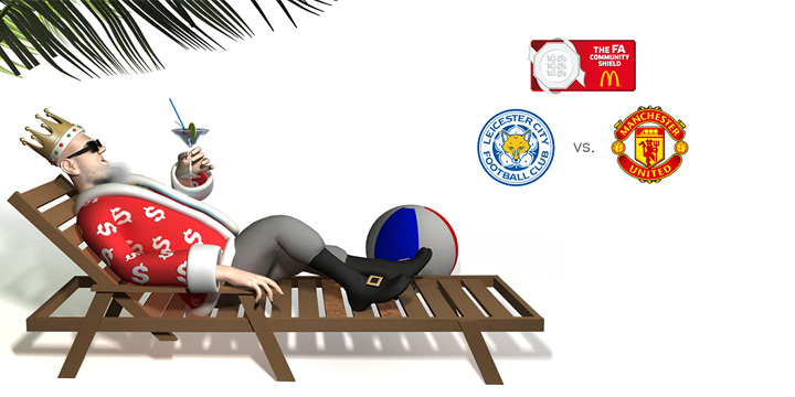 The King is relaxing in his beach chair under a palm tree and talking about the upcoming FA Community Shield match between Leicester and Manchester United.  It is year 2016