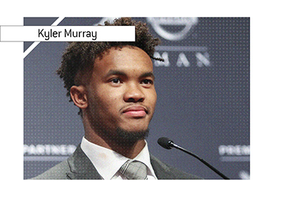 Kyler Murray plans to pursue a career in the NFL. Year is 2019.  Press conference photo.