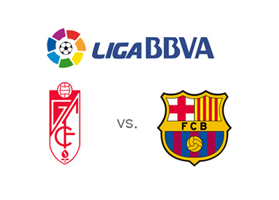 Spanish La Liga matchup - 2015/16 - Granada vs. Barcelona FC - League logo and team crests