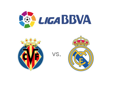 Spanish La Liga (BBVA) matchup between Villarreal and Real Madrid - Match odds and team logos