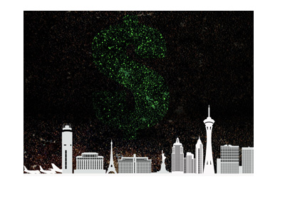 Las Vegas skyline with dollar sign fireworks.  Illustration.