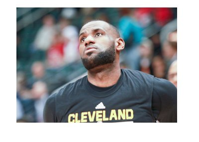 Lebron James of Cleveland Cavaliers - Photo taken during warmup - Black shirt.