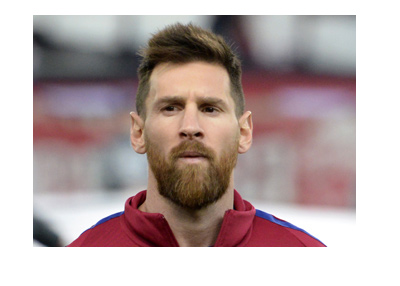 Lionel Messi photographed during national anthems prior to the Champions League match in Greece.