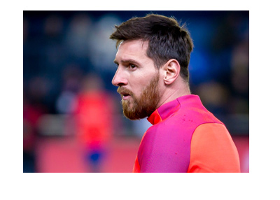 Barcelona FC player Lionel Messi in training.  Gazing into distance.